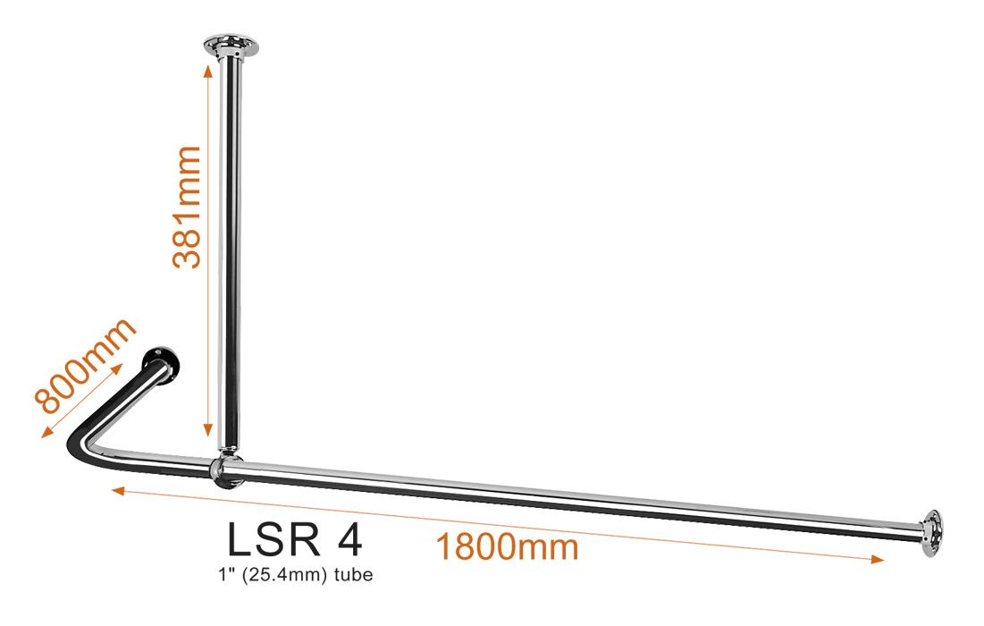 Shaped Shower Curtain Rail LSR4